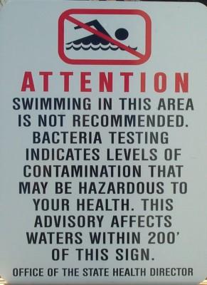 swimming warning sign, advisory