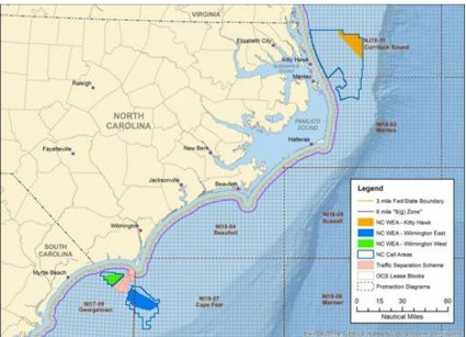One area off the northern Outer Banks and two near Cape Fear are subject of the environmental assessment. Map: BOEM
