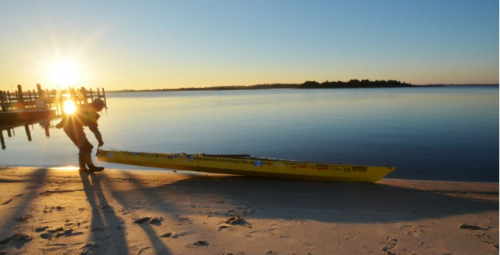 Deborah Walters, 63, readies her 18-foot kayak to leave Swansboro, N.C., and continue on her journey of over 2,500 miles from Maine to Guatemala. Photo: Tess Malijenovsky