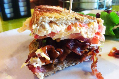 A pimento cheese BLT was on the menu at the late Nick's Diner that operated in downtown Wilmington. Purists tolerate say pimento cheese belongs all on its own on soft white bread, but even they'd have to admit that this sure looks good. Photo: Liz Biro.