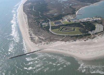 Fort Macon State Park encompasses 424 acres at the eastern end of Bogue Banks. Photo: Program for the Study of Developed Shorelines, Western Carolina University.