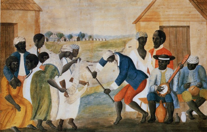 """""""The Old Plantation"""" was painted in 1790 by slave-holder, John Rose. It depicts South Carolina slaves dancing near their quarters with traditional West African head-wear and instruments. People who descended from West African slaves refer to their ethnic identity as Gullah or Geechee. Source: Public Domain"""
