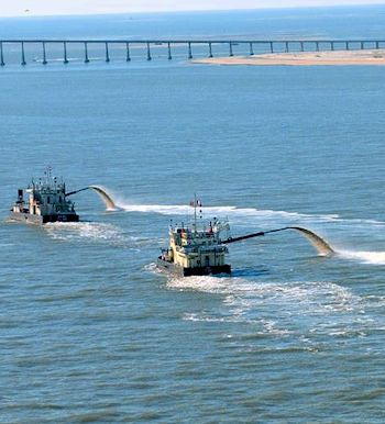 Dare County will spend $300,000 as its share to dredge Oregon Inlet. Photo: Dredging Today