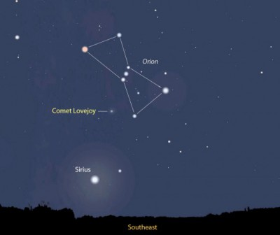 Comet Lovejoy can be seen in the southeast sky near the constellation Orion. Photo: universetoday.com