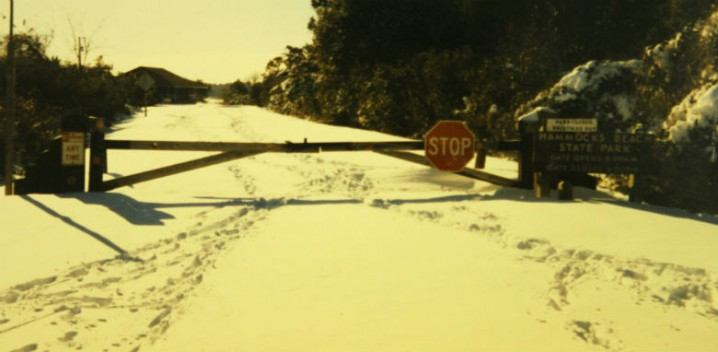 This is the gated entrance of Hammocks Beach State Park, near Swansboro along the central N.C. coast, piled with snow from Christmas Day, 1989. Photo: Sam Bland