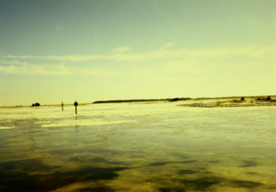 The sub-zero temperatures managed to freeze the sound behind Hammocks Beach State Park on Christmas in 1989. Photo: Sam Bland