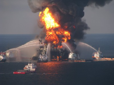 The explosion of BPs Deepwater Horizon oil rig weighed heavily on the minds of many at the press conference. Photo: Surfrider
