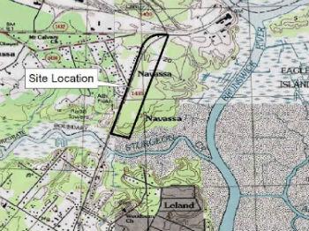 The old Kerr-McGee Superfund site sits astride Sturgeon Creek in Navassa. Source: EPA