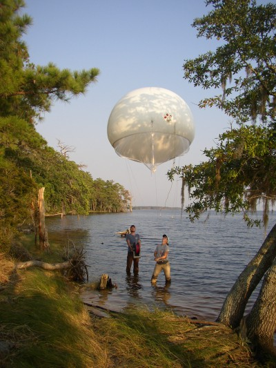An important function of state parks is to serve as research sites. Here, researchers from East Carolina University prepares a balloon for aerial photography to study coastal erosion at Goose Creek State Park in Beaufort County. Source: N.C. Division of Parks and Recreation