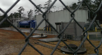 Sewage at the treatment plant at Cannonsgate is now being away by truck for treatment. Photo: Frank Tursi, Coastal Review Online