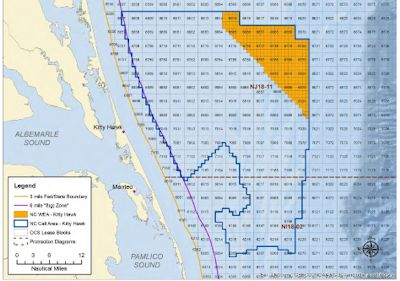 The area proposed for leasing, shaded in orange, consists of about 122,000 acres about 24 nautical miles from Kitty Hawk. Source: BOEM