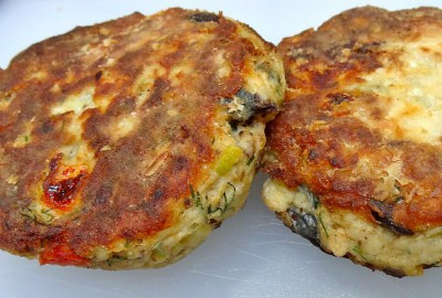 Fish cakes made from bluefish and sundried  tomatoes. Source; Joy of Kosher.com