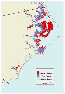 The Albemarle-Pamlico region is vulnerable to saltwater intrusion in part because of its low elevation. The red area is land that's just 1.5 meters above sea or less. The region is also vulnerable because of its extensive drainage network, which allows saltwater to work its way farther inland, researchers say. Map: