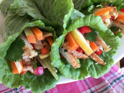 A variety of raw vegetables and cooked meats and fish can be wrapped in raw collard leaves. Pjoto: Lix Biro