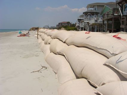 Sandbag walls will be easier to build along N.C. beaches under a bill the legislature is considering. Photo: Gary Lazorik, Coastal Care