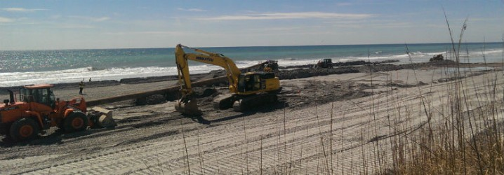 The beach re-nourishment project at North Topsail Beach is behind schedule and may run afoul of federal law. Photo: Frank Tursi
