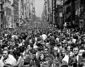 Millions of people jammed Fifth Avenue in New York on the first Earth Day in 1970. Photo: City of New York