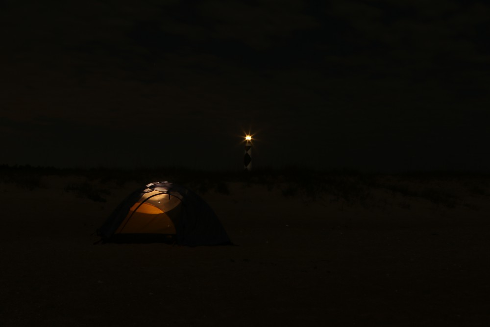 It was easy to find my tent out on the beach, a flashlight wasn't necessary. The moon penetrated so brightly into the tent that I had to place a hat over my eyes to help me fall asleep.