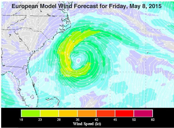 Wind forecast for Friday, May 8, 2015 at 2 pm EDT made by the  Tuesday run of the European model. The model is predicting a possible subtropical depression to be off the coast of the Southeast U.S. Graphic: Jeff Master's blog, Weather Underworld