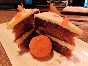 This carrot cake is served at Aubriana's. a restaurant in Wilmington. Photo: Liz Biro
