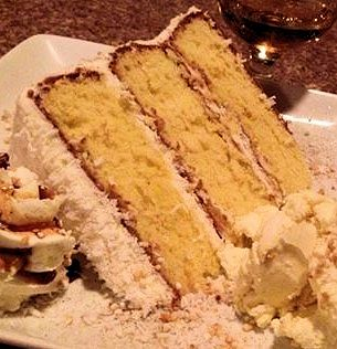 Chef Tyson Amick serves this coconut cake at Aubriana's, his Wilmington restaurant. A native of Eastern North Carolina, Amick has made the cake, which has a long family pedigree, a staple on the menu.