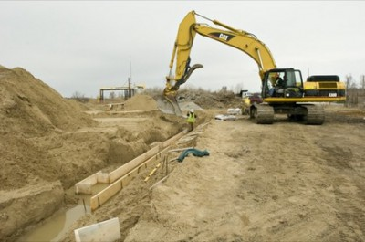 SEPA review is required for construction projects like this one for a new water treatment building at an old landfill. Photo: Octavian Cantilli