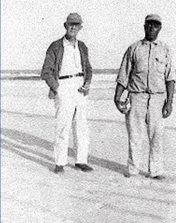 William Sharpe, left, and John Hurt, Harriet's father, on Hammocks Beach in the 1930s or 1940s. Photo: Courtesy of the Hurst Family