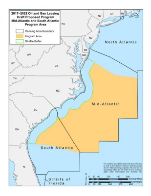 The 2017-2022 Oil and Gas Draft Proposed Program for the mid-Atlantic and south-Atlantic program area includes a 50-mile buffer. Graphic: BOEM