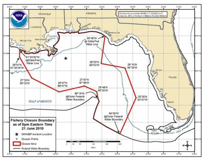 Maximum area of federal waters closed to fishing after the Deepwater Horizon oil spill, 2010