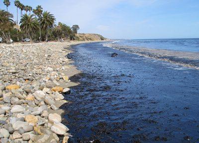 Oil on the beach at Refugio State Park in Santa Barbara, Calif., on May 19. Photo: U.S. Coast Guard