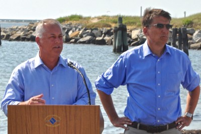 Below, Gov. Pat McCrory with Transportation Secretary Tony Tata at Oregon Inlet Monday. Photo: Outer Banks Voice