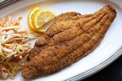 Fry breaded catfish for about four minutes, until crisp and well-browned. Photo: Essence Bar, New York
