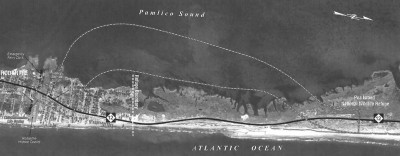 """The deal calls for a """"jug-handle"""" bypass around the troublesome Mirlo Beach area south of the Bonner Bridge, which will be replaced by a parallel span over Oregon Inlet. Photo: Outer Banks Voice"""