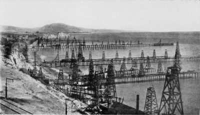 America's first offshore oil field consisted of wooden piers in shallow water at Summerfield near Santa Barbara, Calif. The photo was taken before 1906. Photo: America's Coastline Collection, NOAA