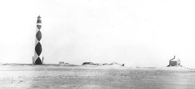 """The is the Cape Lookout Light Station as it appeared on May 17, 1893."""" The first keeper's quarters, built in 1812, can be seen far right. The second keeper's quarters, built in 1873, appears directly behind the lighthouse. Photo: The National Park Service"""