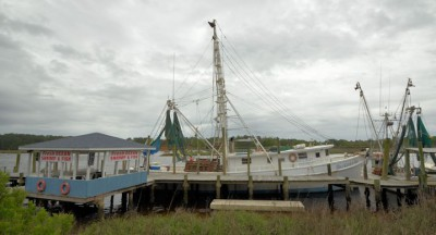 Shrimp boats tie up behind the Captain Nance restaurant in Calabash wher Donna Nance Morgan said she hadn't heard about the prospect of drilling of the N.C. coast, but she would like to know how it might affect the price of seafood.  Photo: Tess Malenjanovsky