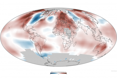 Average temperature in 2014 compared to the 1981-2010 average. Image: NOAA Climate.gov