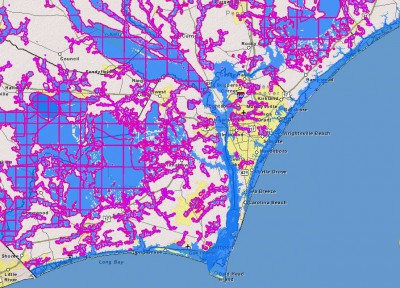 Floodplain mapping for Wilmington shows flood  zones, flood probability and modeling. Map: U.S. Flood Risk Information System