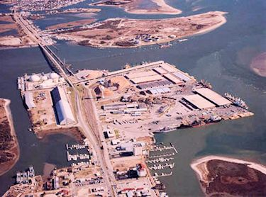 Radio Island, in the upper portion of the photo, would offer the only land at the State Port in Morehead City that could be developed to service offshore oil rigs. Photo: N.C. State Ports Authority