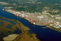The state port in Wilmington has a few draw backs, including its distance from the ocean. Photo: N.C. State Ports Authority