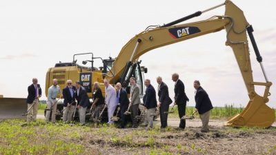 Officials dig in shovels July 14 during a ceremonial groundbreaking for the Amazon Wind Farm U.S. East, the first commercial-scale wind farm in the state. Photo:  Elizabeth City/ Pasquotank County Economic Development Commission