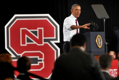President Barack Obama speaks during a visit to N.C. State in January 2014 to announce the public-private Manufacturing Innovation Institute. Photo: N.C. State