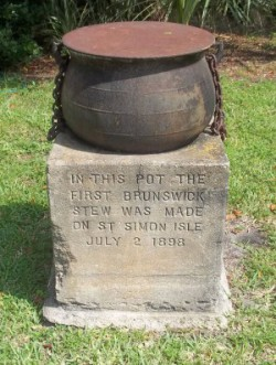 This is the stew pot that legend was used to make the first Brunswick stew in Brunswick County, Ga., in 1898. Source: Wikipedia