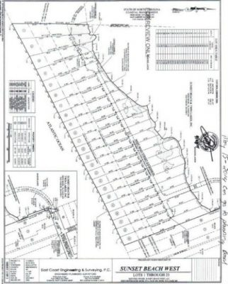 Here is a site plan for the proposed Sunset Beach West property. The 21 lots would take up nearly 25 acres, stretching from the dead end of Main Street to the Bird Island Reserve. Source: Sunset Beach