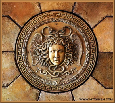 Medusa of Greek mythology was a Gorgon, a monster said to have the face of a hideous human female with snakes in place of hair. Looking directly at her would immediately turn you into stone. Photo: mythman.com