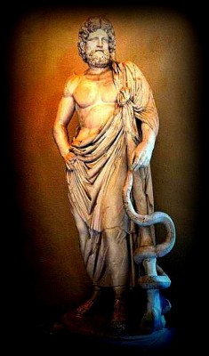 The Rod of Aesculapius with its entwined serpent was originally the symbol of Asclepius, the mythical Greek physician and later the god of medicine and healing.  The staff is used as a symbol of the medical profession.