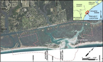 The proposed terminal groin project would be built at the north end of Figure Eight Island on Rich Inlet. Map: Army Corps of Engineers