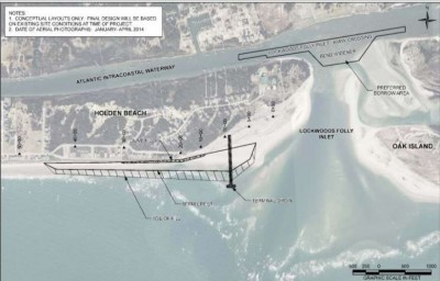 The preferred Holden Beach terminal groin design includes a 1,000-foot-long structure that would extend about  700 feet into the ocean. Image: Corps of Engineers