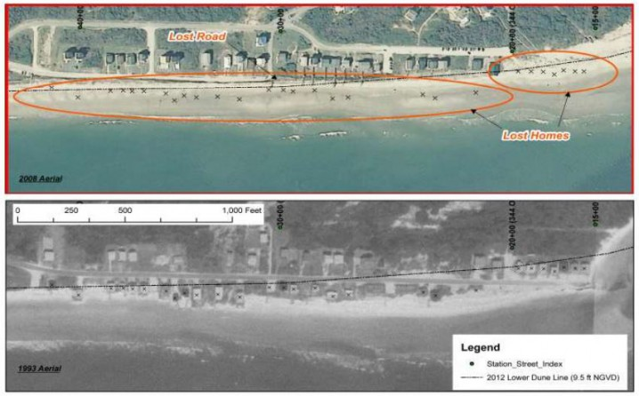 This comparison of the east end of Holden Beach in 2008, above, and 1993 shows 27 structures, indicated by X-marks, lost to erosion. Photo: Corps of Engineers