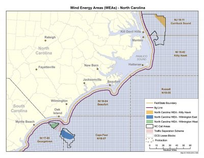 The Bureau of Ocean Energy Management's environmental assessment has found there would be no significant environmental or socioeconomic impacts from issuing wind energy leases within three wind energy areas in federal waters off the N.C. coast. Graphic: BOEM